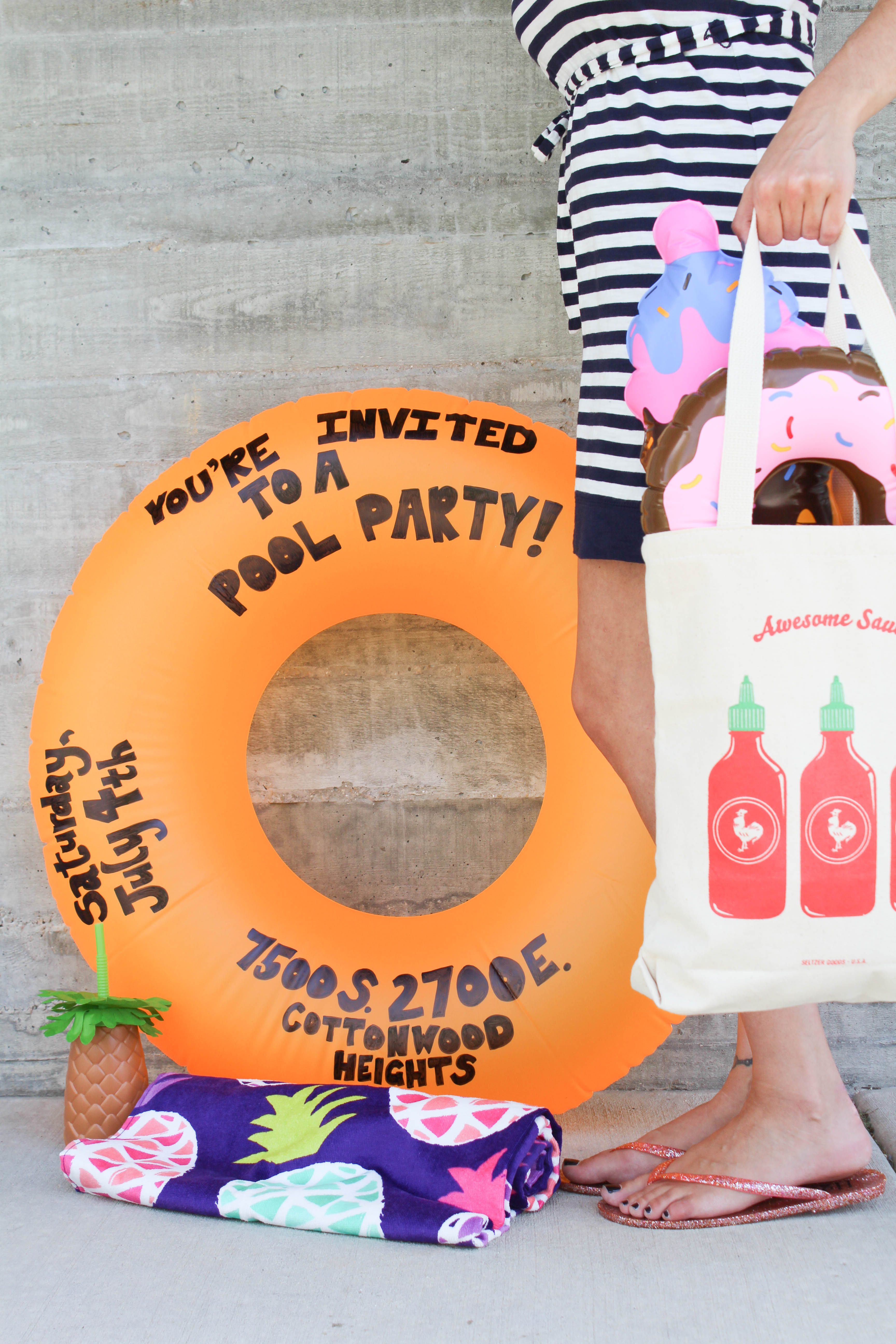 DIY Pool Party Float Invitation Lets Mingle Blog – Homemade Pool Party Invitations
