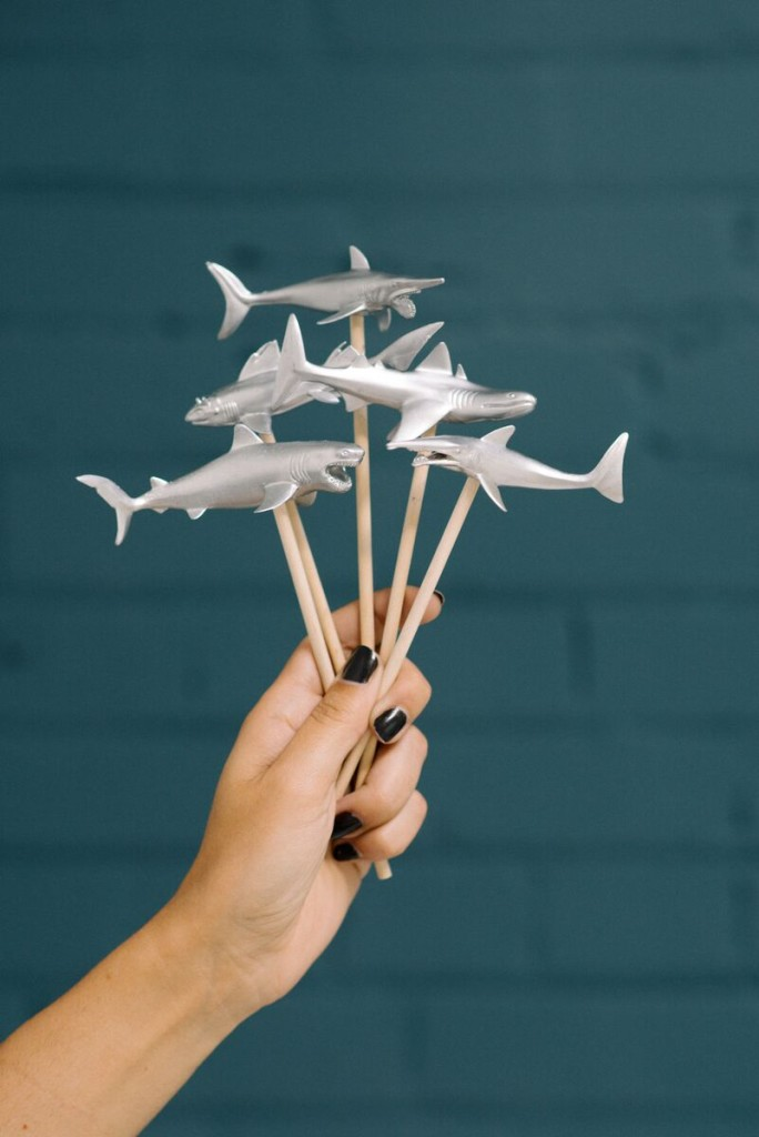 DIY Shark Stir Sticks