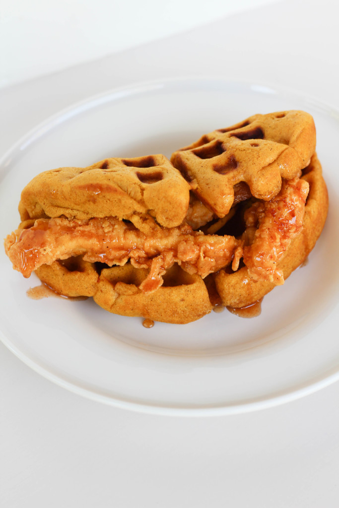 Fried Chicken and Pumpkin Waffle Tacos