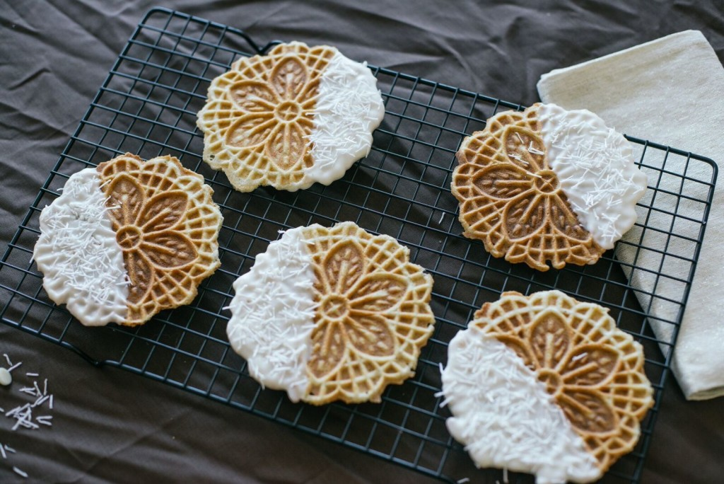 Chocolate Dipped Pizzelle Cookies
