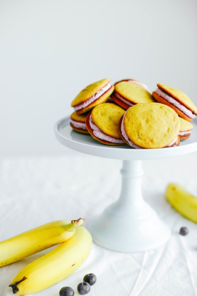 Banana Whoopie Pies with Blueberry Filling