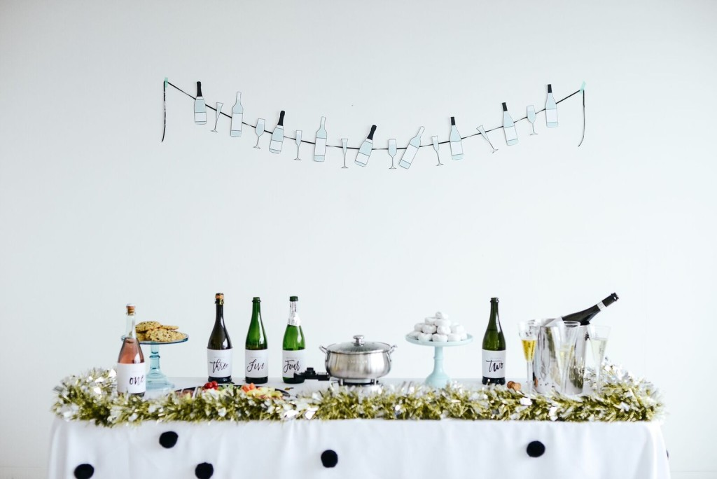 Printable Champagne Bottle Garland