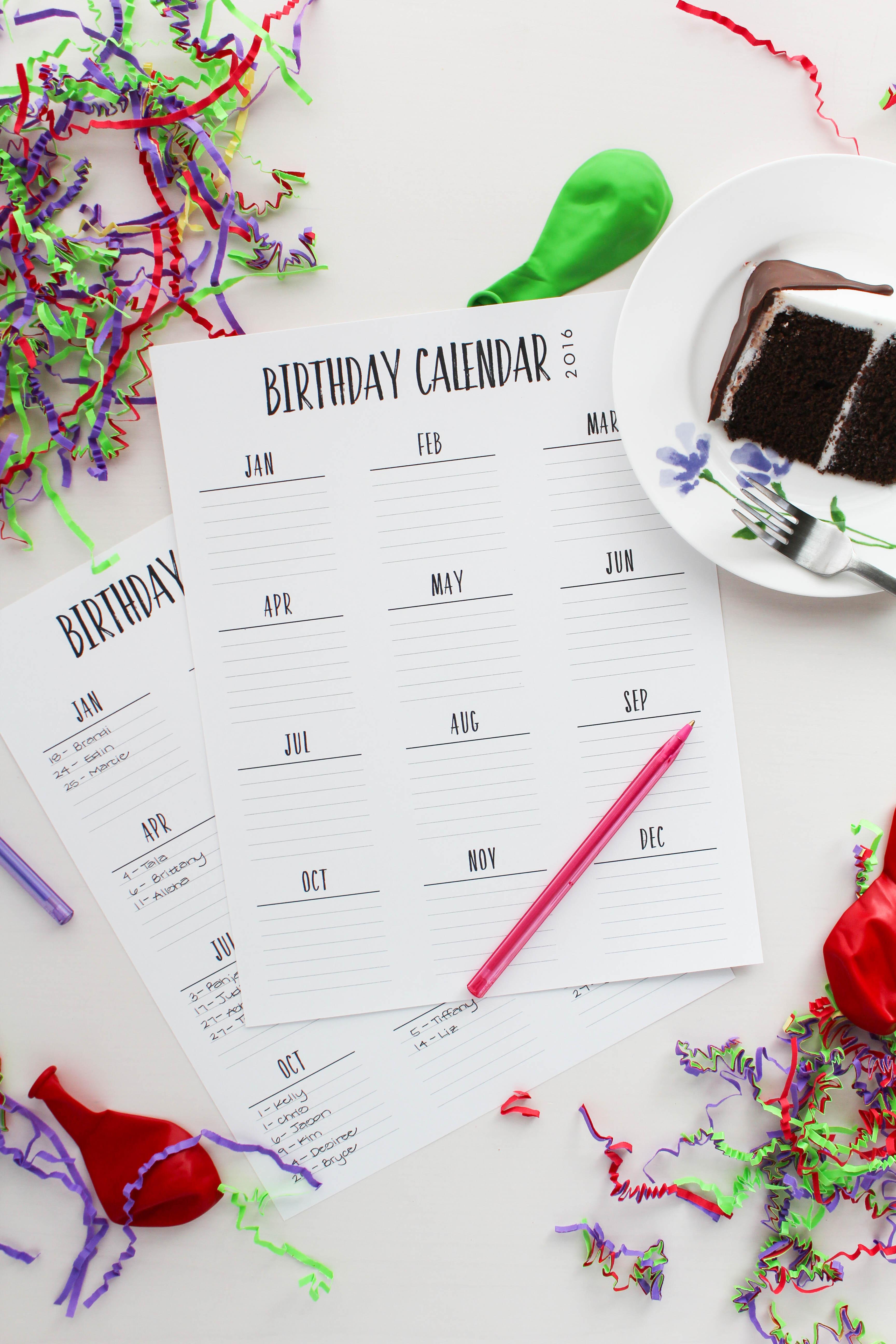Birthday Calendars : Birthday calendar printable let s mingle