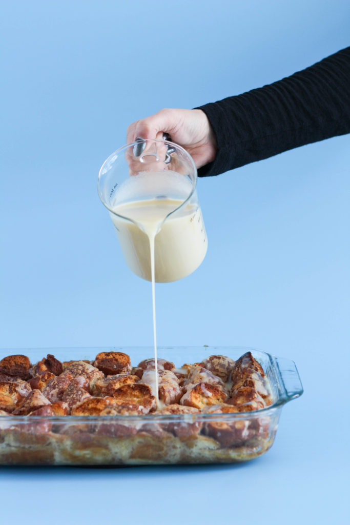 Glazed Donut Bread Pudding with Vanilla Glaze