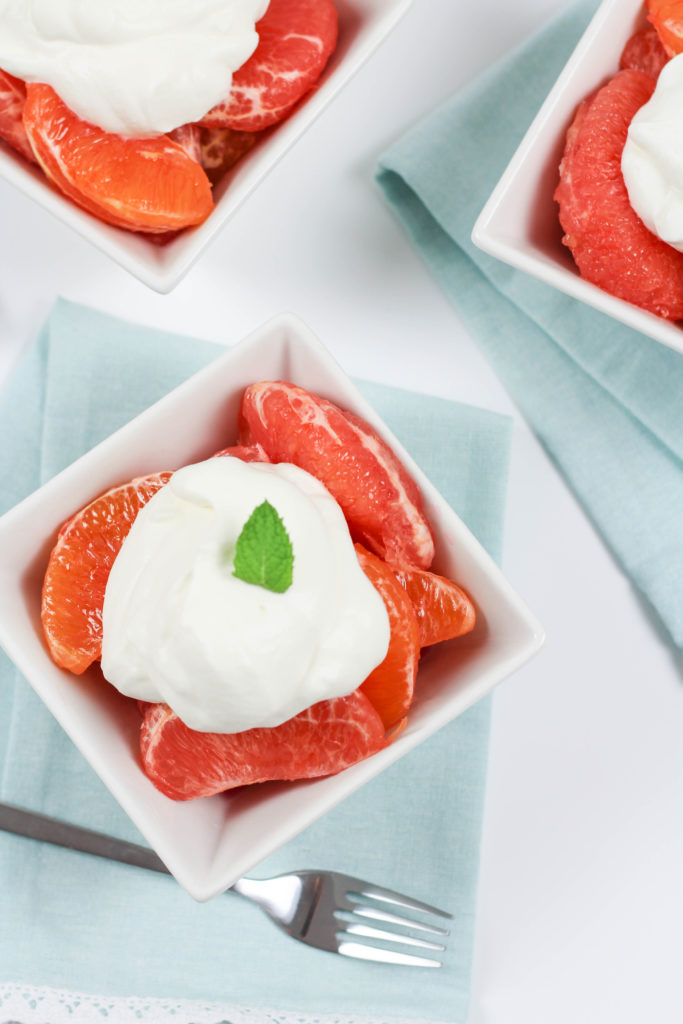 Grapefruit and Orange Compote with Mint Whipped Cream