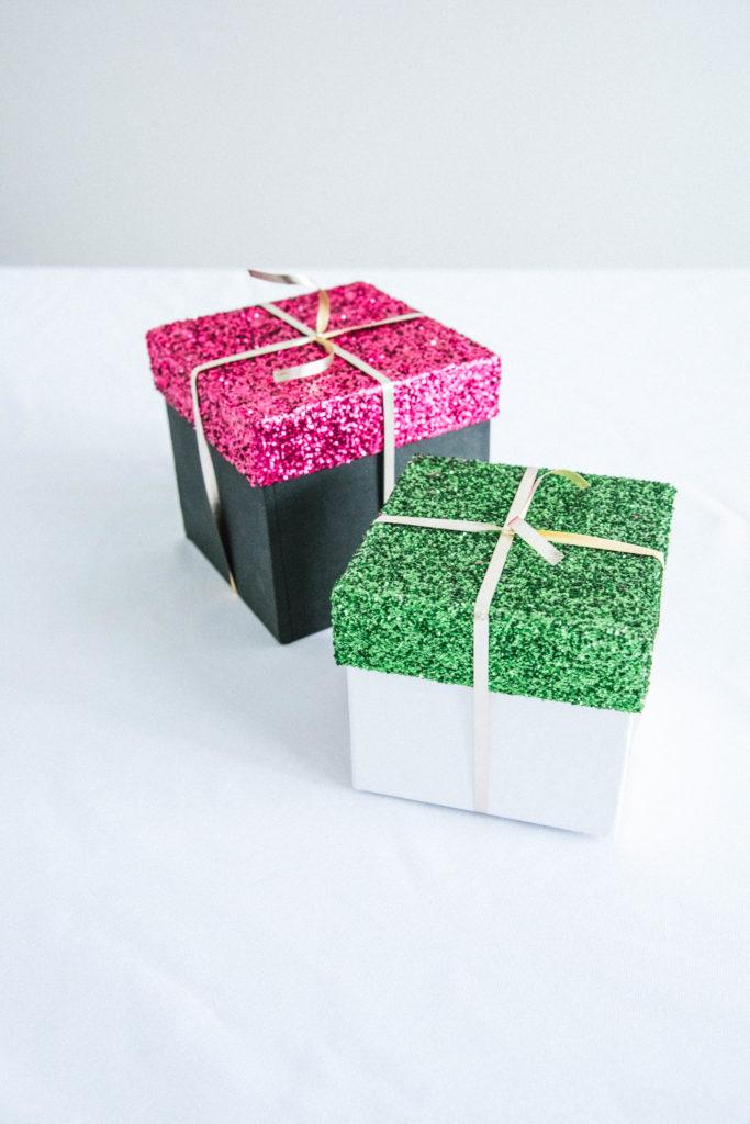 DIY Glitter Gift Boxes
