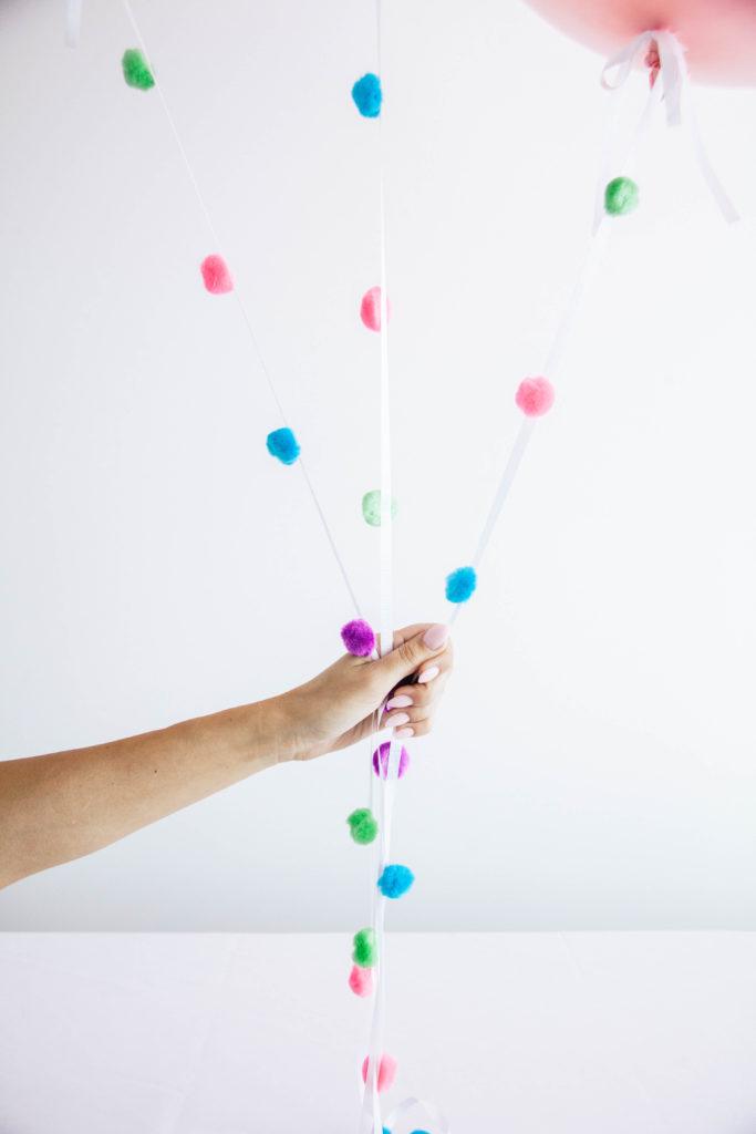 DIY Pom Pom Balloon Tails