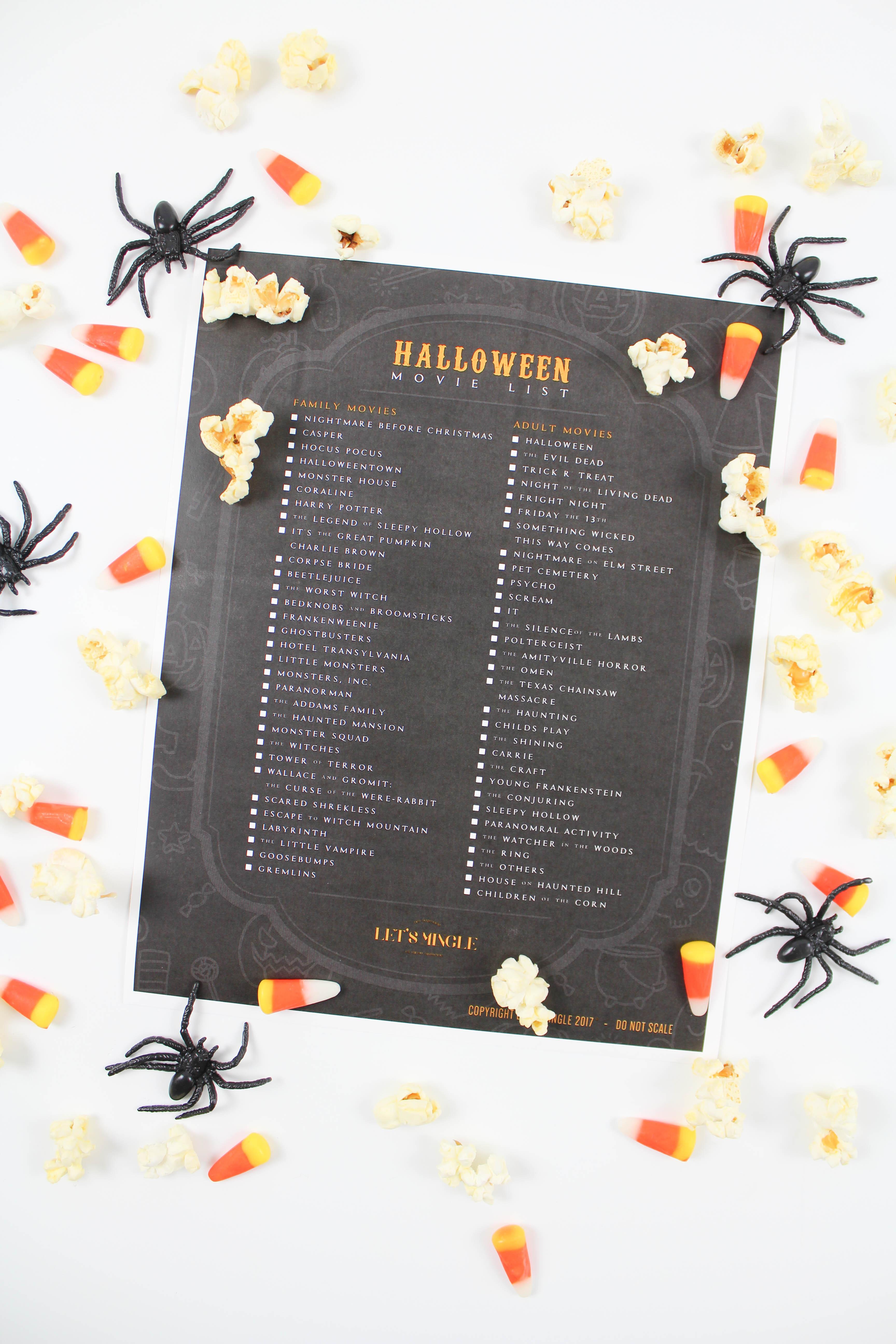 Printable Halloween Movie List - Let's Mingle Blog