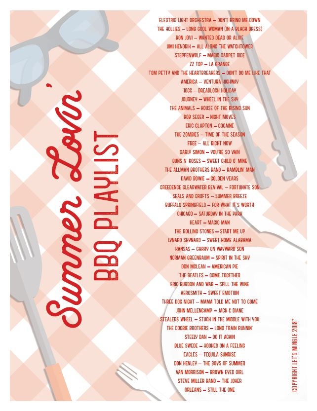 Printable Summer BBQ Playlist